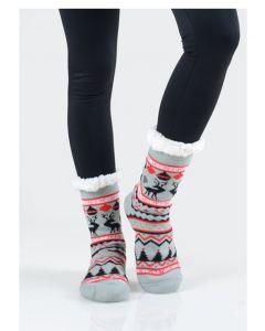 Women's Faux Sherpa Reindeer Argyle Slipper Socks, One-Size 9-11, Grey Red