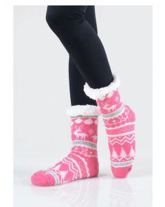Women's Faux Sherpa Reindeer Argyle Slipper Socks, Hot Pink, One-Size 9-11