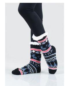 Women's Faux Sherpa Reindeer Argyle Slipper Socks, One-Size 9-11, Navy Blue