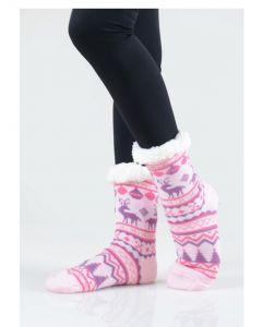 Women's Faux Sherpa Reindeer Argyle Slipper Socks, Pink Purple, One-Size 9-11