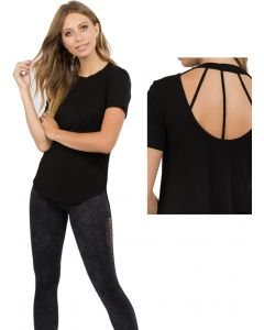 Women's Strappy Cut Out Back Quality Soft Stretch Short-Sleeve Top, Black, Small