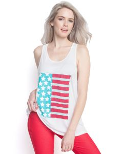 American Flag Patriotic Racerback Flare Tank Top, White Red Blue, Large