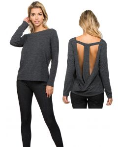 Women's T-Strap Surplice Back Loose Fit Long-Sleeve Top, Grey, Medium 6-10