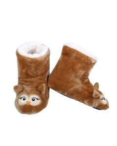 Owl Animal Holiday Child Super Soft Indoor Slippers, Brown, Small 8-10