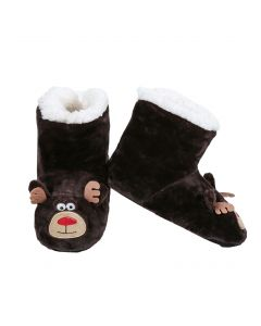 Reindeer Animal Holiday Child Super Soft Indoor Slippers, Brown, Small 8-10