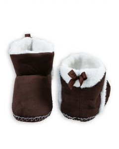 Indoor Folded Cozy Winter Christmas Slippers, Brown White, Small/Medium 5-7