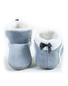 Indoor Folded Cozy Winter Christmas Slippers, Grey White, Small/Medium 5-7