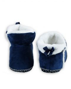 Indoor Folded Cozy Winter Christmas Slippers, Navy Blue White, Small/Medium 5-7