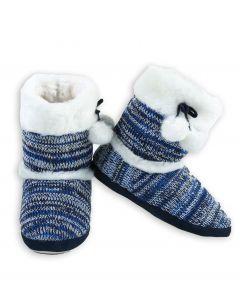 Stylish Faux Fur Boot Knit Women Indoor Slippers, Blue, Small/Medium 4-6 US