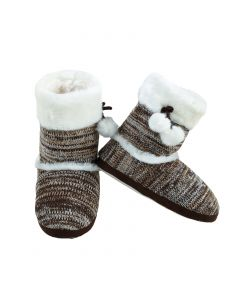 Stylish Faux Fur Knit Women Indoor Slippers, Grey Brown, Small/Medium 4-6 US