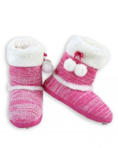 Stylish Faux Fur Boot Knit Women Indoor Slippers, Pink, Small/Medium 4-6 US
