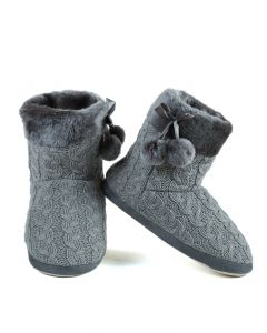 Cozy Winter Cable Knit Indoor Rubber Sole Slippers, Grey, Small/Medium 5-7