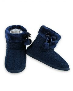 Cozy Winter Cable Knit Indoor Rubber Sole Slippers, Blue, Medium/Large 8-10