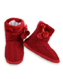 Cozy Winter Cable Knit Indoor Rubber Sole Slippers, Red, Small/Medium 5-7