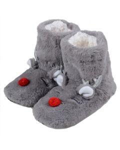 Women's Furry Red-Nose Reindeer Bootie Slippers, Dark Grey, Medium/Large 8-10 US