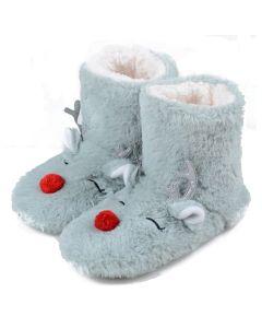 Women Furry Red-Nose Reindeer Bootie Slippers, Light Grey, Medium/Large 8-10 US