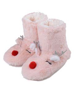 Women Furry Red-Nose Reindeer Bootie Slippers, Light Pink, Medium/Large 8-10 US