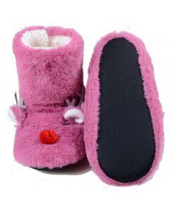 Women's Furry Red-Nose Reindeer Bootie Slippers, Fuschia, Medium/Large 8-10 US