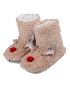 Women's Furry Red-Nose Reindeer Bootie Slippers, Tan, Medium/Large 8-10 US