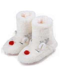 Women's Furry Red-Nose Reindeer Bootie Slippers, Off-White, Medium/Large 8-10 US