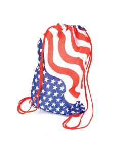 "Stars & Stripes Drawstring Backpack 15"" Carrying Bag, Red White Blue, 12 Pack"